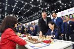 Prezident İlham Əliyev Ümumdünya Şahmat Olimpiadasının birinci turunun açılışında iştirak edib
