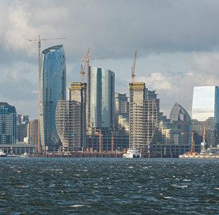 Вид на Баку со стороны моря