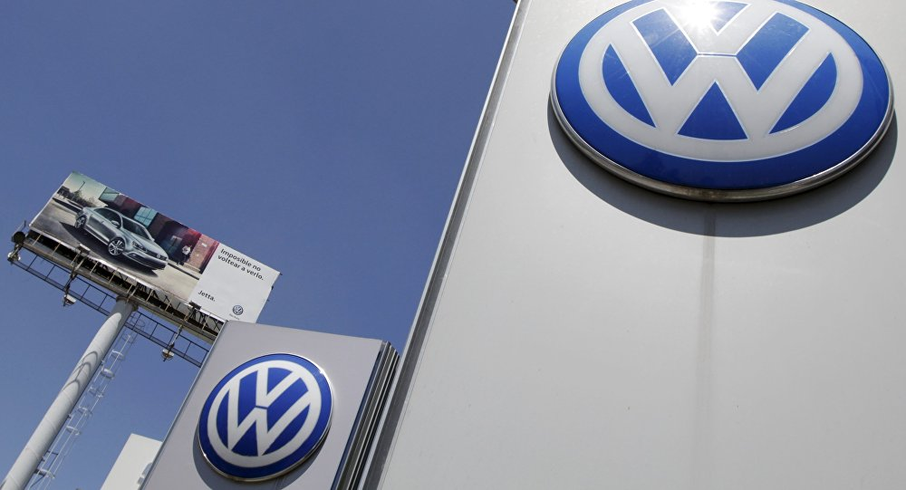 The logo of German carmaker Volkswagen is seen at the Volkswagen (VW) automobile manufacturing plant in Puebla near Mexico City September 23, 2015