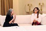 Встреча первой леди Азербайджана Мехрибан Алиевойс с вице-президентом Болгарии Маргаритой Поповой