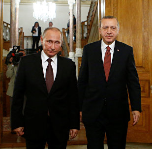 Russian President Vladimir Putin and his Turkish counterpart Tayyip Erdogan arrive for a joint news conference following their meeting in Istanbul, Turkey, October 10, 2016