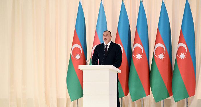 Президент Ильхам Алиев выступает в официальном приеме, посвященному 25-й годовщине восстановления государственной независимости Азербайджана