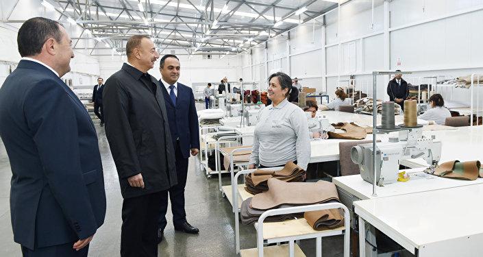 """İlham Əliyev Ağstafada """"Modern"""" mebel fabrikinin açılışında iştirak edib"""