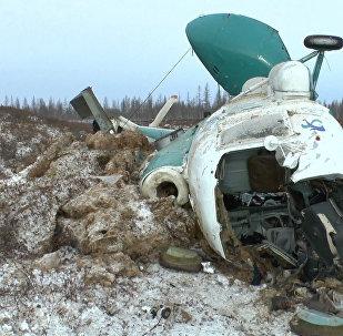 Кадры разбитого вертолета Ми-8 авиакомпании Сокол