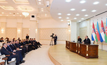 Выступление для прессы президентов Азербайджана и Хорватии