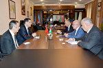 Встреча посла Турции в Азербайджане Эркана Озорала с председателем ГТК АР Айдыном Алиевым