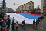 Участники шествия и митинга Мы едины! в Москве в честь Дня народного единства, 4 ноября 2016 года