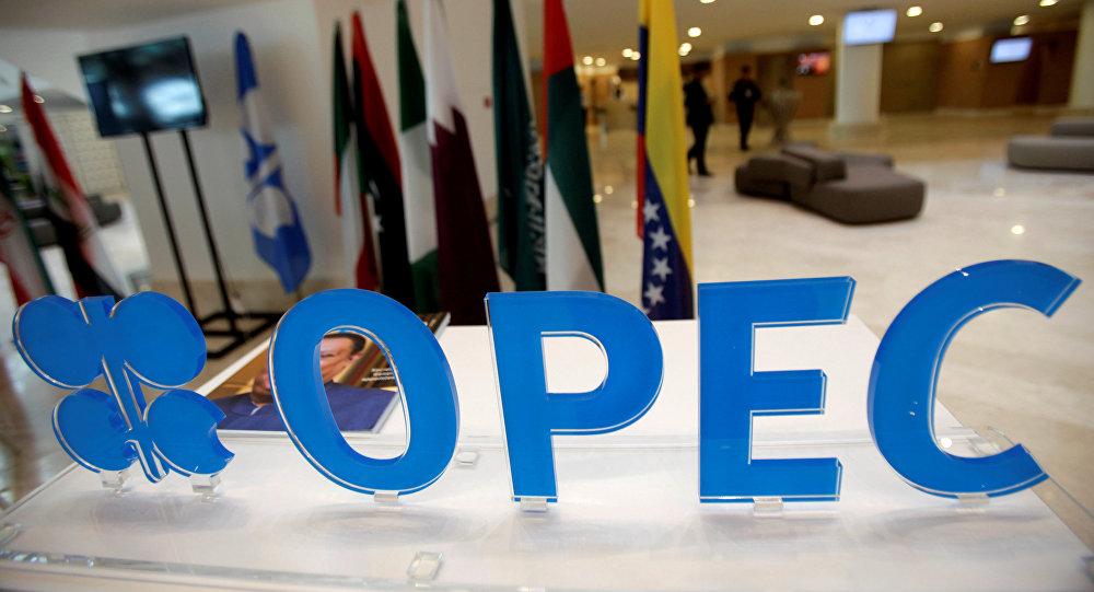 Эмблема лого на неформальной встрече стран-членов ОПЕК  в Алжире