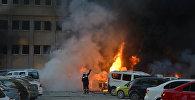 Пожарные тушат пожар на месте взрыва в турецкой провинции Адана