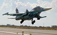 Rusiyaya aid Su-34 qırıcı təyyarəsi Suriyada, arxiv şəkli