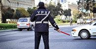 Сотрудник Бакинской дорожной полиции, архивное фото