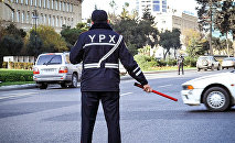 Сотрудников государственной дорожной полиции в Баку, фото из архива