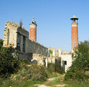 Верхняя мечеть Гевхар-аги в оккупированном Арменией городе Шуше