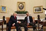 Избранный президент США Дональд Трамп на встрече с президентом Соединенных Штатов Бараком Обамой в Белом доме, 10 ноября 2016 года