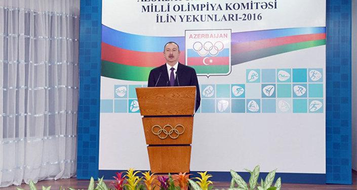 İlham Əliyev 2016-cı ilin idman yekunlarına həsr olunan mərasimdə iştirak edir