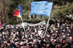 Moldovanın və Avropa İttifaqının bayraqları, arxiv şəkli