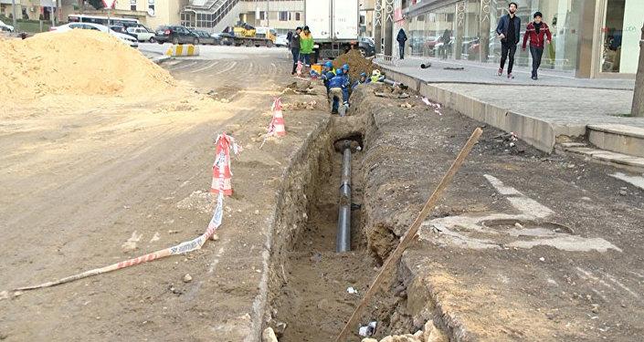 Nərimanov rayonu Nəcəf Nərimanov küçəsində təmir işlərinə başlanılıb