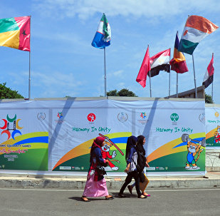 Флаги участников Игр исламской солидарности на острове Суматра в Индонезии, 20 сентября 2013