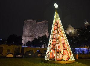 Новогоднее украшение Баку, 29 декабря 2017 года
