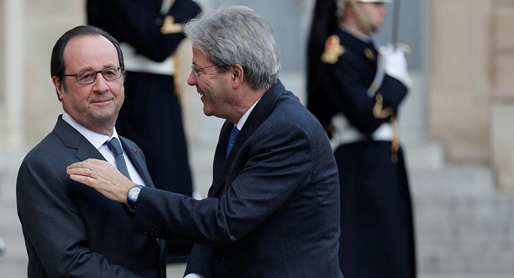 İtaliyanın baş naziri Paolo Centiloni və Fransa prezidenti Fransua Olland