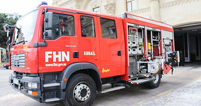 Пожарная машина Государственной противопожарной части Сабаильского района