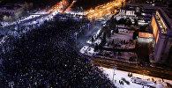 Rumıniyanın paytaxtı Buxarestdə hökumətə qarşı etiraz aksiyası, 29 yanvar 2017