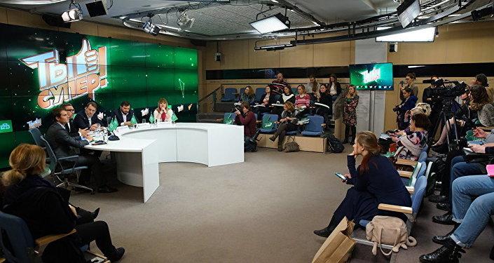 Пресс-конференция, посвященная международному детскому вокальному конкурсу телеканала НТВ Ты супер!