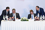 Церемония подписания соглашения о партнерстве между компанией BP и оргкомитетом Исламских игр солидарности Баку-2017