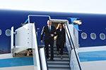 Президент Ильхам Алиев и первая леди Мехрибан Алиева в международном аэропорту Мюнхена