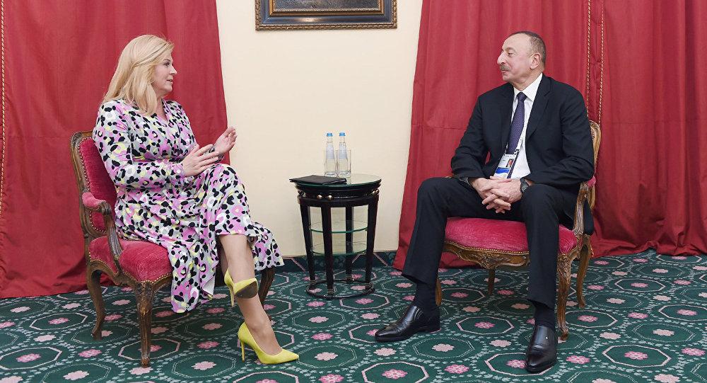 İlham Əliyevin Xorvatiya Prezidenti Kolinda Qrabar-Kitaroviçlə görüşü