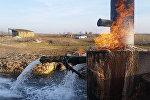 Goranboyun Qızılhacılı qəsəbəsindəki yanar su bulağı