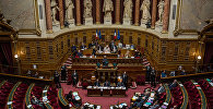 Сенаторы во время заседания французского сената (верхняя палата парламента)