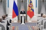 Президент РФ Владимир Путин выступает на церемонии вручения премий президента РФ, фото из архива