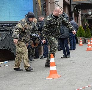 Место убийства бывшего депутата Государственной думы РФ Дениса Вороненкова в Киеве