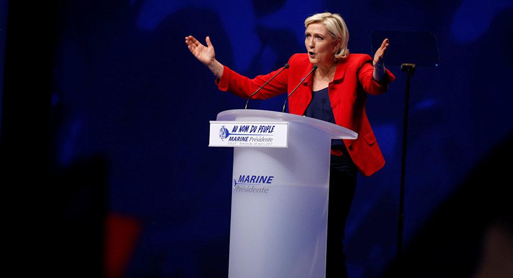 Выступление Марин Ле Пен во время предвыборной кампании
