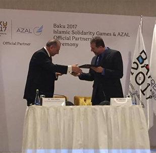İslam Həmrəyliyi Oyunları və Azərbaycan Hava Yolları QSC (Qapalı Səhmdar Cəmiyyəti) arasında rəsmi tərəfdaşlığa dair saziş imzalanıb