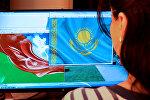 Azərbaycan-Qazaxstan bayraqları