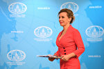 Официальный представитель министерства иностранных дел России Мария Захарова на брифинге по текущим вопросам внешней политики