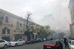 Тушение пожара в жилом доме на улице Сулеймана Тагизаде в Баку