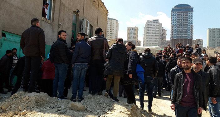 Ситуация возле мечети Гаджи Джавада в Баку