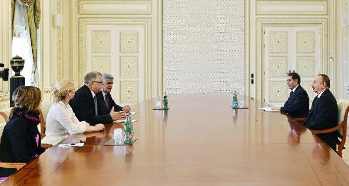 Встреча президента Ильхама Алиева с делегацией во главе со специальным представителем Европейского Союза по вопросам Южного Кавказа Гербертом Зальбером