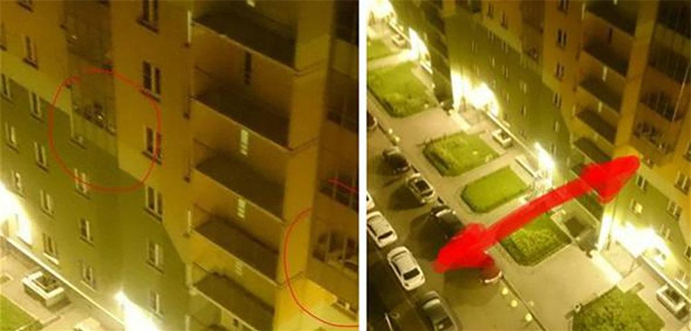 Çoxmərtəbəli binanın 5-ci mərtəbəsində, bir mənzilin eyvanında çəkilən avtomobil şəkli