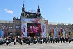 Военнослужащие на генеральной репетиции военного парада в Москве, посвящённого 72-й годовщине Победы в Великой Отечественной войне 1941-1945 годов.