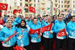 Церемония встречи спортсменов-участников IV Игр Исламской солидарности в Деревне атлетов