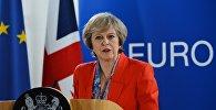 Премьер-министр Великобритании Тереза Мэй выступает на саммите ЕС в Брюсселе