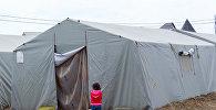 Energetika pansionatının həyətindəki çadırlar