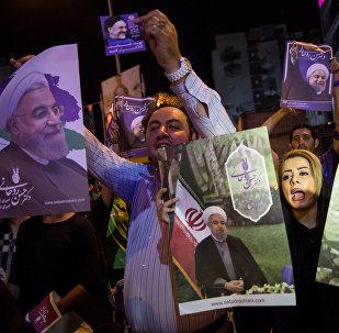 Сторонники Хасана Роухани в Тегеране, Иран, 17 мая 2017 года