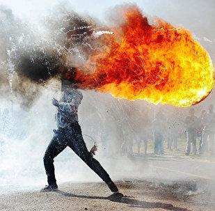 Протесты в городе Грабу