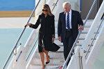 Donald və melaniya Tramp Roma aeroportunda