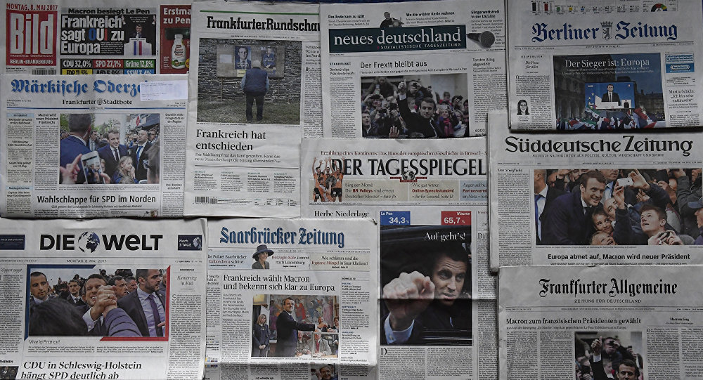 Первые полосы немецких газет в Берлине, фото из архива